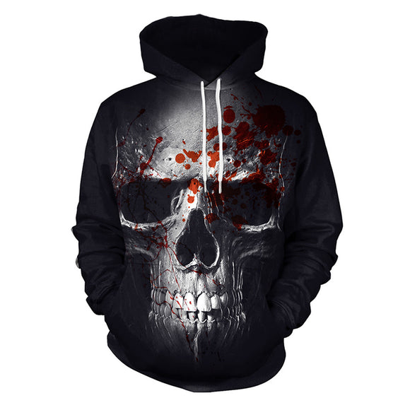 Unisex Athletic 3D Bloody Skull Printed Hoodies Pullover Sweatshirts-Fandomsky