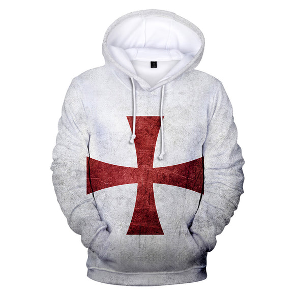 Men's Medieval Knights Templar Pullover Zipper Hoodie JacketCross Printed Sweatshirt Costume