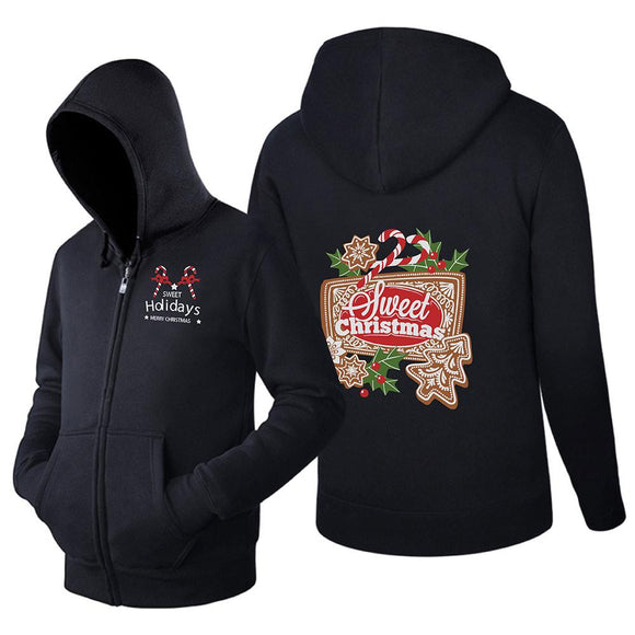 Unisex Christmas Hoodie Long Sleeve Sweet Christmas Candy Sweatshirt Zip Up Jacket Sweatshirt