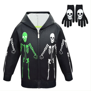 Halloween Boy's Coat Skeleton Patterned Boy's coat Hood Edding  Zip-up shirt