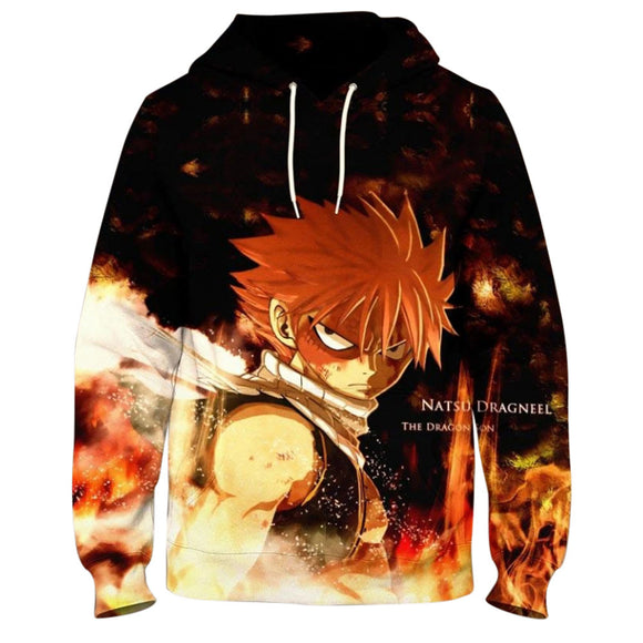 Unisex Fairy Tail Hoodies 3D Print Pullover Sweatshirt Outfit Natsu Printed Cosplay Casual Outerwear