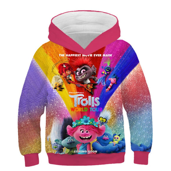 Kids Trolls World Tour Hoodies Boys Girls Novelty Hooded Sweatshirts Pullover Outerwear Sportswear