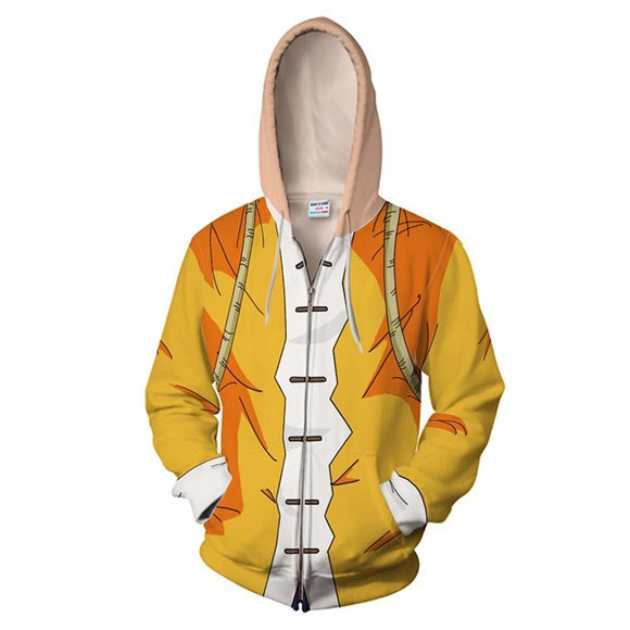 Unisex Dragon Ball Hoodies 3D Print Zip Up Sweatshirt Outfit Kame Sennin Cosplay Casual Outerwear