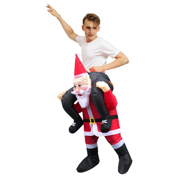 Adult Half Body Riding Santa Claus Costume Christmas Outfit Cosplay Party Accessory Festival Fancy Dress
