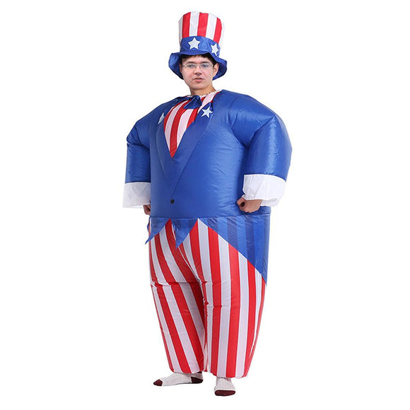 Inflatable Uncle Sam Cosplay Costume Halloween Costumes For Men Stripe Jumpsuit with Hat