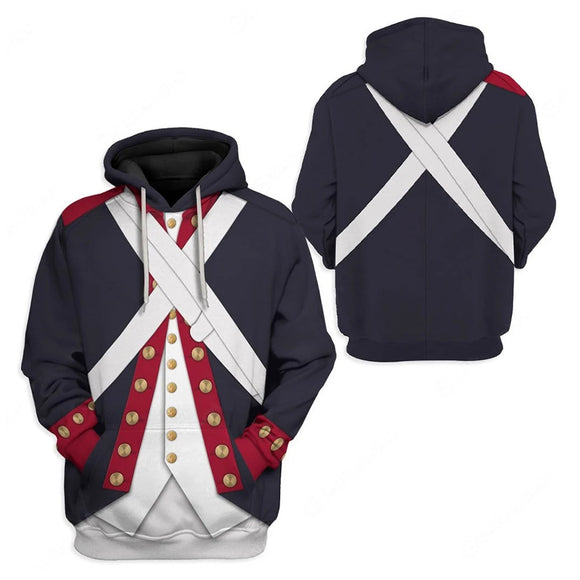Unisex American Revolutionary War Continental Army Cosplay Hoodies 3D Print Jacket Pullover Sweatshirt