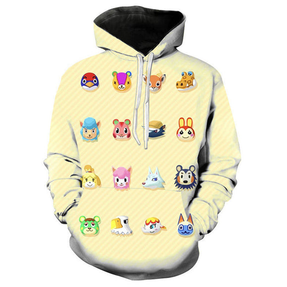 Unisex Game Animal Crossing Hoodie Village Print Pullover Top Cloth Hooded Sweatshirt