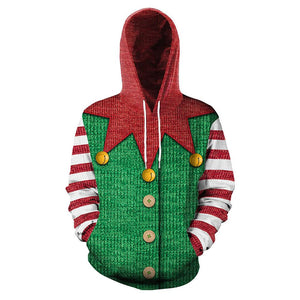 Unisex Christmas Hoodies Christmas Elf Pullover 3D Print Cosplay Jacket Sweatshirt