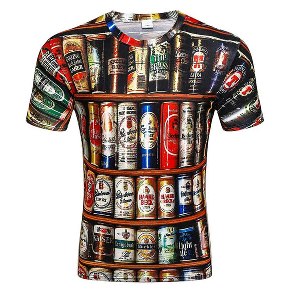 Halloween Novelty 3D T-shirt Men Cans of Beer Printed Hip Hop Crewneck Short Sleeve T-shirt Tops
