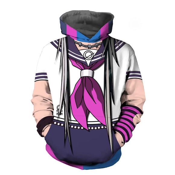 Unisex Danganronpa 2 Hoodies 3D Print Pullover Sweatshirt Outfit Ibuki Mioda Cosplay Casual Outerwear