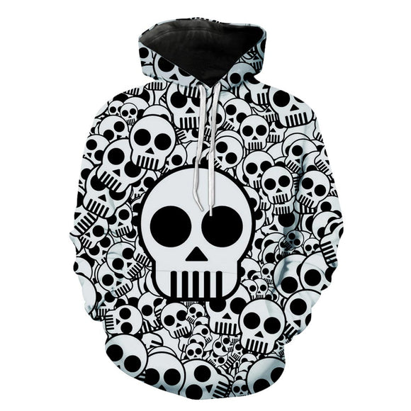 Unisex Halloween Hoodies Black and White Skulls Printed Pullover Jacket Sweatshirt-Fandomsky