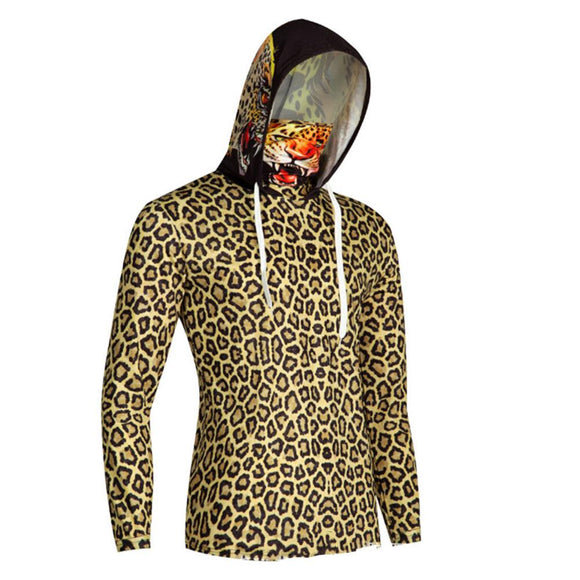 Unisex Halloween Leopard Print Pattern Sweatshirt Finger Hole Mouth Mask Pullover Hoodie