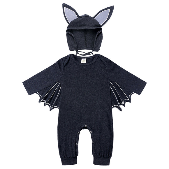Halloween Batman Baby Rompers Toddler Costume Outfits Set Jumpsuit Hat