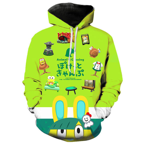Unisex Game Animal Crossing Print Hoodie Pullover Top Cloth Green Hooded Sweatshirt