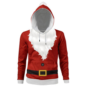 Unisex Christmas Hoodie Santa Claus Cosplay Hooded Pullover Sweatshirt Cosplay Costume