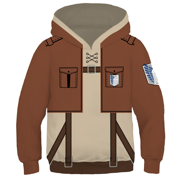 Kids Attack on Titan Cosplay Hoodies Boys Girls Long Sleeve Casual Pullover Sweatshirt