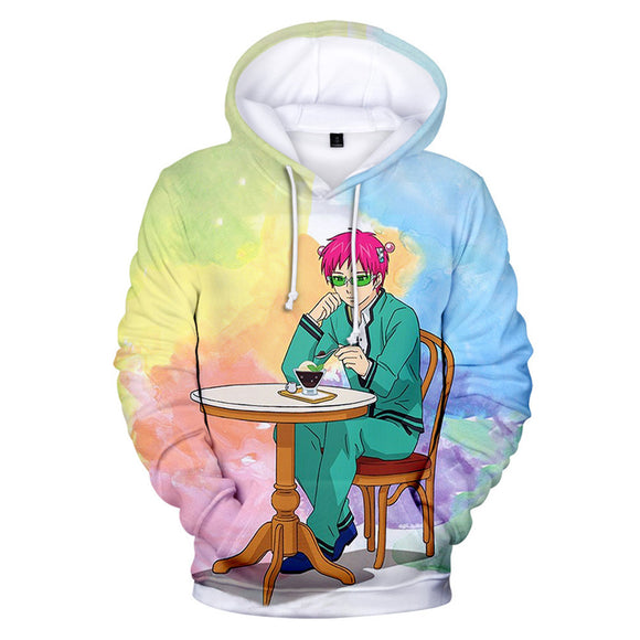 Anime The Disastrous Life of Saiki K. Hoodies Cosplay Hooded Sweatshirt Casual Streetwear Pullover Hoodie