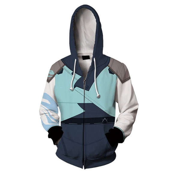 Unisex Jett Cosplay Hoodies Valorant Zip Up 3D Print Jacket Sweatshirt