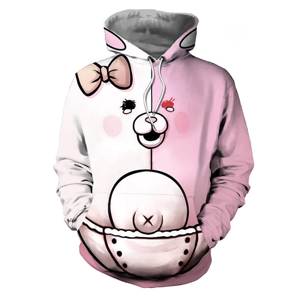 Unisex Danganronpa Hoodies 3D Print Pullover Sweatshirt Outfit Monomi Cosplay Casual Outerwear