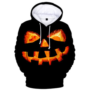 Unisex Halloween Hoodies Black Pumpkin Printed Pullover Jacket Sweatshirt