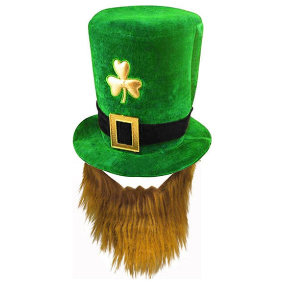 St. Patrick's Day Hat with Faux Beard Leprechaun Shamrock Hat-Fandomsky