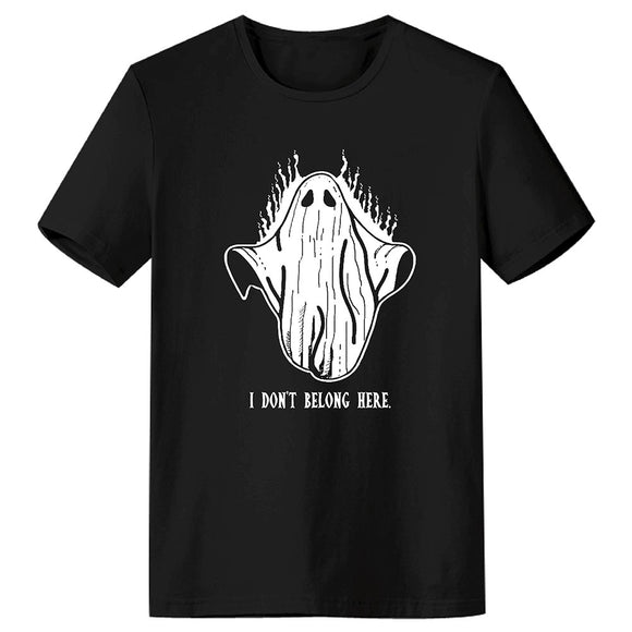 Unisex Halloween Ghost 'I DONT BELONG HERE' Short Sleeve T-shirt