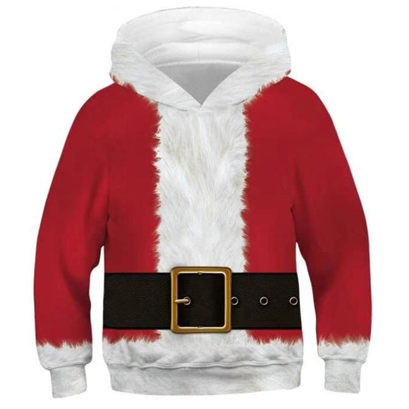 Kids Christmas Hoodie Santa Claus Cosplay Hooded Pullover Sweatshirt Cosplay Costume