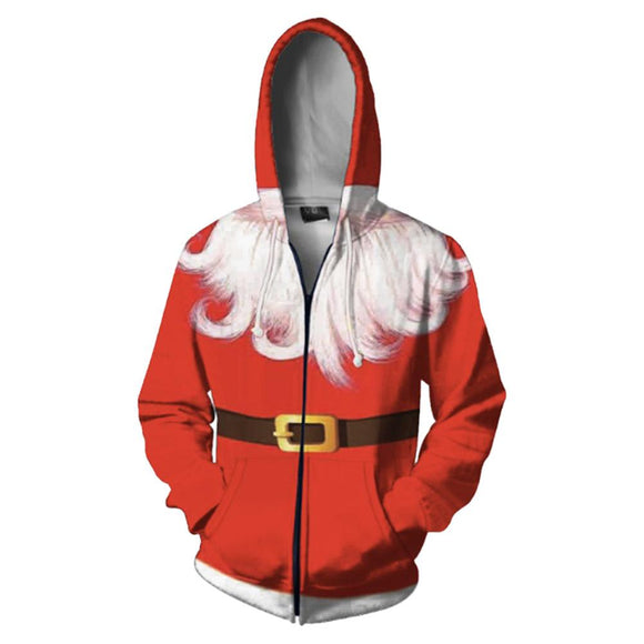 Unisex Christmas 3D Beard Printed Hoodie Santa Long Sleeve Zip Up Hooded Sweatshirt Tops