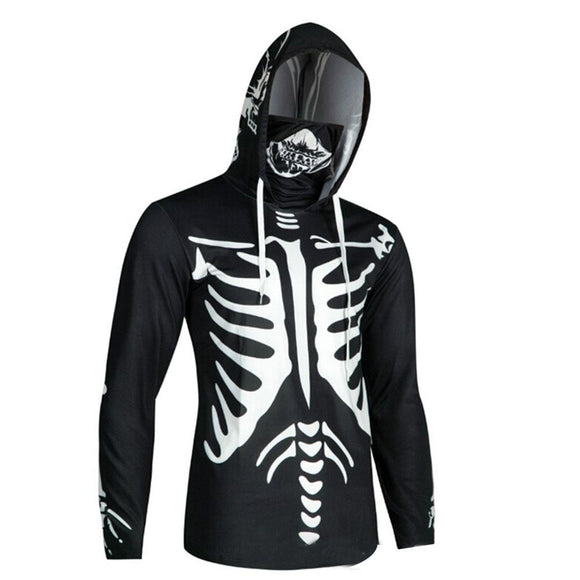 Unisex Halloween Skeleton Pattern Sweatshirt Finger Hole Mouth Mask Pullover Hoodie