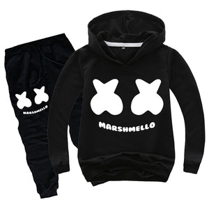 Boys Youth DJ Marshmello Hoodies Set Pullover Cool Sweatshirt Hoodie Pants Sets-Fandomsky