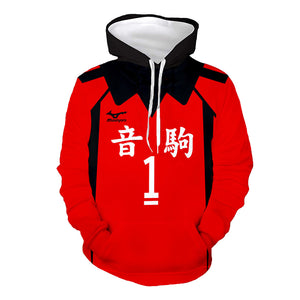 Unisex Anime Haikyuu!! Cosplay Hoodies Nekoma High School Volleyball Club Uniform Hoodie Pullover 3D Print Jacket Sweatshirt