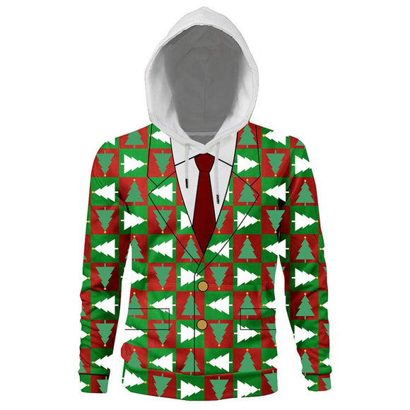 Unisex Christmas Suit Pattern 3D Print Long Sleeve Hoodie Caps Sweatshirt Pullover Autumn Winter Hooded Outwear
