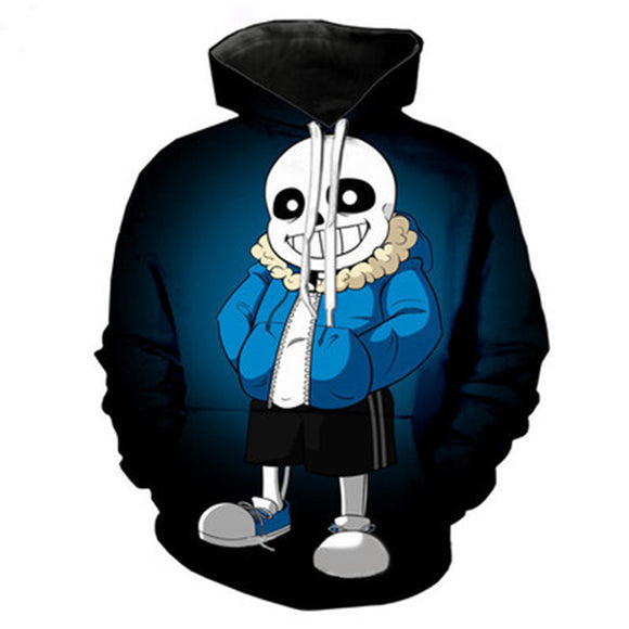 Unisex Undertale Cosplay Hoodies Sans Printed Long Sleeve Pullover Casual Sweatshirt