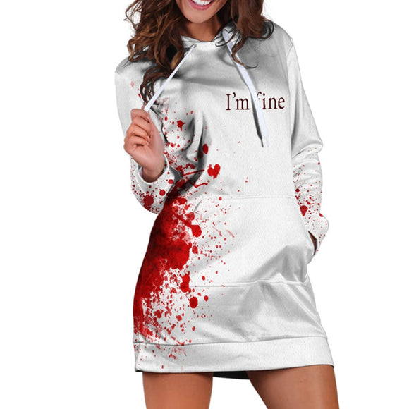 Halloween Blood Splash Pullover Hoodie Hip Hop Cosplay Horror Colorful 3D Print Long Sweatshirt
