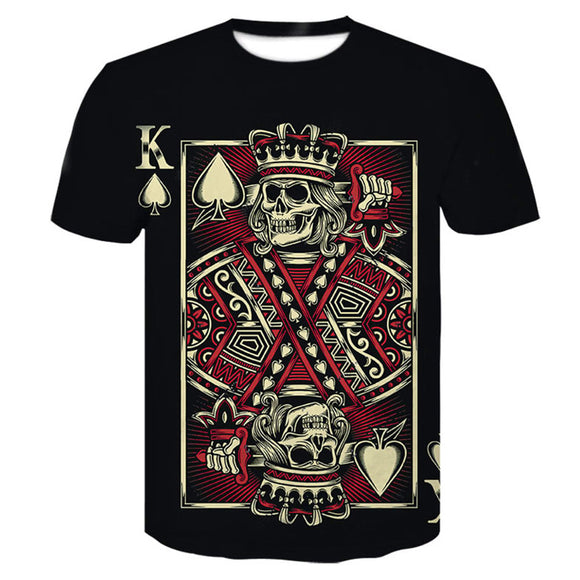 Skeletons and Poker Man Leisure Short Sleeve Round Neck T Shirts-Fandomsky