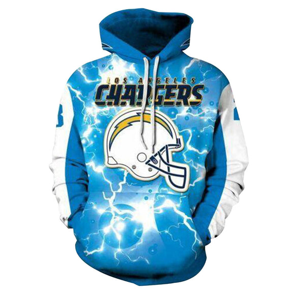 Unisex Los Angeles Chargers Hoodies Team Uniform 3D Print Pullover Jacket Sweatshirt-Fandomsky