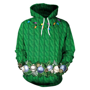 Unisex Chirstmas Simulation Printed Galaxy Pocket Drawstring Hooded Sweatshirt-Fandomsky