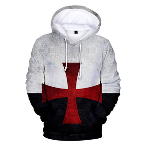 Knights Templar Men's 3D Printed Sweatshirt Drawstring Hoodies with Pockets-Fandomsky