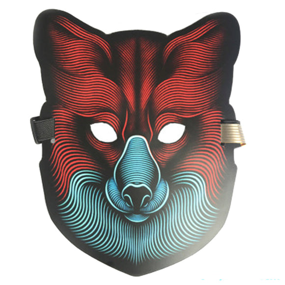 Halloween LED Mask Fox Sound Activated Glowing Mask Luminous Flashing Mask-Fandomsky