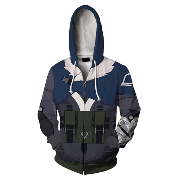 Unisex Sova Cosplay Hoodies Valorant Zip Up 3D Print Jacket Sweatshirt