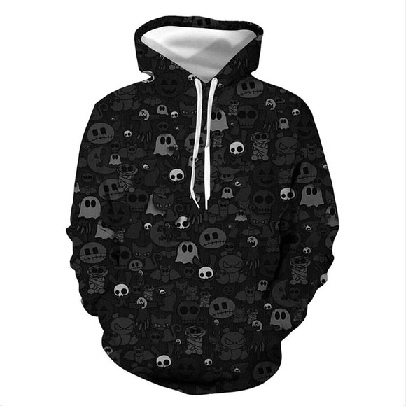 Unisex Halloween Hoodies Ghost Skulls Printed Pullover Jacket Sweatshirt-Fandomsky