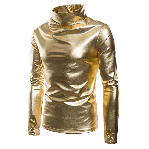 Men's Metallic Turtleneck Thumb Holes Sleeves Blouse Night Club Fancy Party Costume