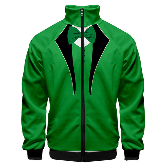 Unisex St. Patrick's Day 3D Print Zipper Jacket Costume Sweatshirt Stand Collar Hoodie Coat