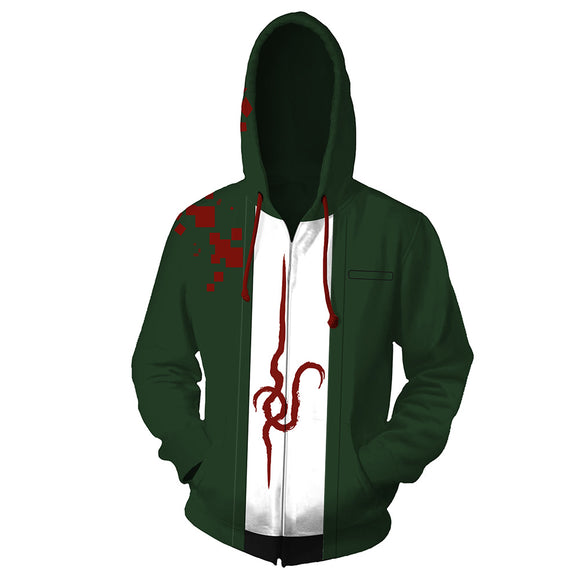 Unisex Super Danganronpa 2 Hoodies 3D Print Zip Up Sweatshirt Outfit Nagito Komaeda Cosplay Casual Outerwear