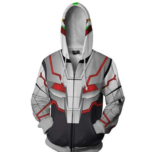 Unisex UNICORN GUNDAM Destroy Mode Cosplay Hoodies Mobile Suit Gundam UC Zip Up 3D Print Jacket Sweatshirt
