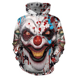 Unisex Halloween Hoodies Horror Clown Printed Pullover Jacket Sweatshirt