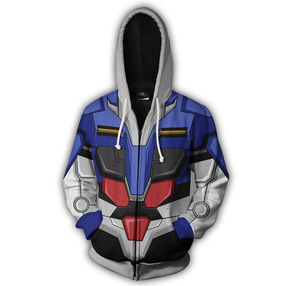 Unisex GUNDAM EXIA Cosplay Hoodies Mobile Suit Gundam 00 Zip Up 3D Print Jacket Sweatshirt