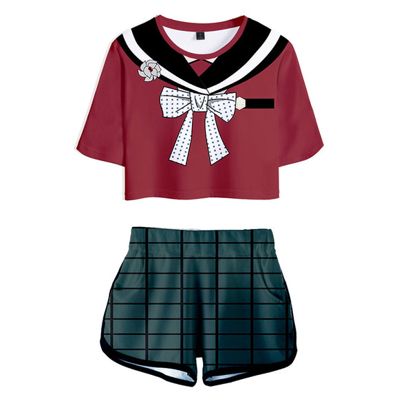 Women Danganronpa V3: Killing Harmony Maki Harukawa Cosplay Crop Top & Shorts Set Summer 2 Pieces Casual Clothes