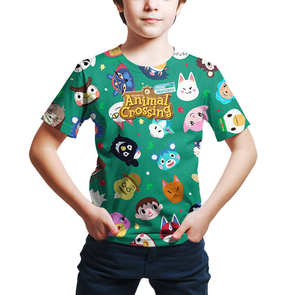 Kids Animal Crossing T-shirt Boys Girls Summer O-neck T-shirt Casual Street 3D Print Shirts