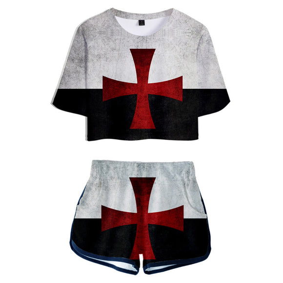 Women Knights Templar Cosplay Crop Top & Shorts Set Summer 2 Pieces Casual Clothes